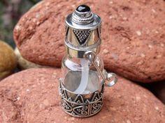 PERFUME/PRAYER/GHAU BOX PENDANT 925 SILVER/GLASS BLACK ONYX SILVERANDSOUL