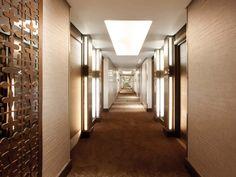 Corridor - decorative panels and wall paper.  Hilton Bankside Corridor