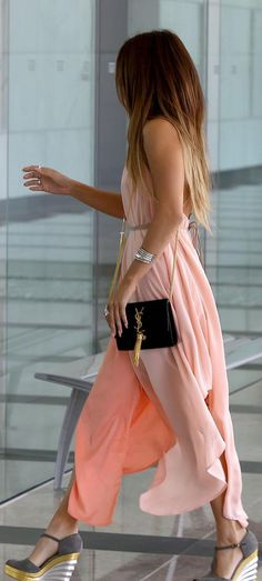 Fabulous! Blush pink maxi dress accented with beautiful hair and accessories