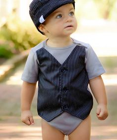 Take a look at the Gray & Black Pinstripe Vest Bodysuit - Infant on #zulily today!