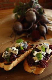 ashed goats cheese  beetroot bruschetta / farmgate cheese