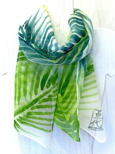 Green Silk Scarf. Silk Scarves Takuyo. Hand Painted, Green Coconut Leaves Scarf. Silk Chiffon Scarf. 10x56 in. Made to order.. $51.00, via Etsy.