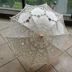 "30"" Beige Vintage Craft Fashional Embroidered Lace Parasol Sun Umbrella Wedding Bridal Bridesmaid Accessaries 2016 - $24.99"