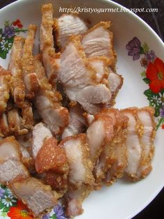 The young ones are carnivores ! They like meat especially my boy. He like anything fried and crispy. So, this morning I got two slices of pork belly… Pork Belly Recipes, Meat Recipes, Seafood Recipes, Asian Recipes, Dinner Recipes, Cooking Recipes, Asian Foods, Five Spice Recipes, Fun Cooking
