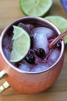 "Blueberry Moscow Mule | ""The best cocktail to impress your friends on a whim."" #drinks #drinksrecipes #drinkrecipes Fun Cocktails, Party Drinks, Summer Drinks, Cocktail Recipes, Moscow Mule Drink, Moscow Mule Recipe, Punch Recipes, Drink Recipes, Blueberry Syrup"