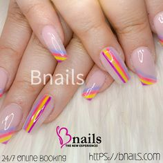 Nude acrylic nails with purple,yellow,pink, Line Nail Art, Best Nail Salon, Rose Nails, Salon Services, Nail Shop, Purple Yellow, Nail Arts, Beautiful Roses, Swag Nails