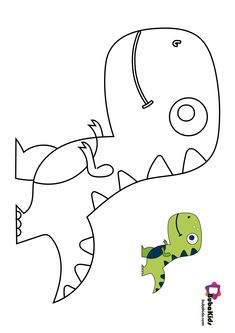 Bubakids Cute Lil T-rex Coloring Page for preschool, kindergarten and elementary school children to print and color. Dinosaur Coloring Pages, Cute Coloring Pages, Cartoon Coloring Pages, Coloring Pages For Kids, Coloring Books, Colouring, Dinosaur Pattern, Cute Dinosaur, Dinosaur Template