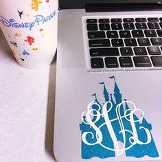 Castle Monogram Disney Car Decal Laptop Decal by SunshineVinyl
