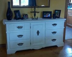 1970s dresser redone/ updated! was old brown laminated now pretty champagne waltz! Primed, painted & lacquered!