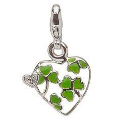 Silver Shamrock Diamond Heart Charm