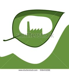 vector illustration of powerplant cut in leaf. idea for green technology icon, logo or symbol