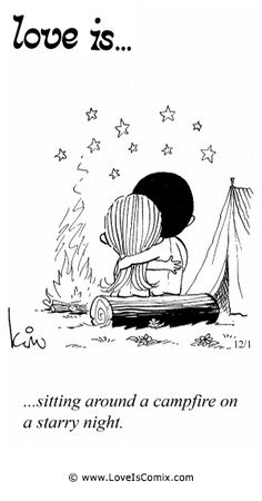 Love is... sitting around a campfire on a starry night.....my favorite time!