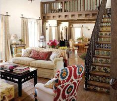 Boho living room - I love this room design interior house design home design interior design 2012 Home And Deco, Beautiful Space, Beautiful Stairs, Home Interior, Modern Interior, Style At Home, Home Fashion, Great Rooms, My Dream Home