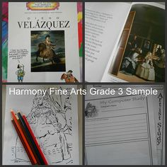 Harmony Fine Arts Grade 3 collage sample Complete lessons for art and music, based on classical timeline.