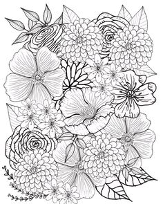 Flower Coloring Page Floral Adult Printable