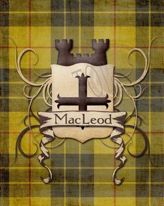 MacLeod Clan Tartan with Shield and Castle