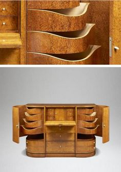Meuble de rangement, Pierre Chareau   France, circa 1922. Deco Furniture, Furniture Making, Pierre Chareau, Tree Table, Chair Bed, Wood Cabinets, Fine Woodworking, Shoe Rack, Art Nouveau