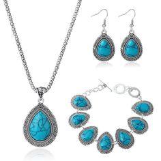 Turquoise Bohemian Jewellery Set - Necklace, Bracelet, Earring by KingolaJewellery on Etsy