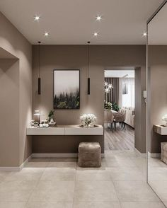 Hall de entrada - New Ideas Classy Living Room, Beige Living Rooms, Living Room Decor, Home Room Design, House Design, Modern Tv Room, Flur Design, House Entrance, Paint Colors For Home