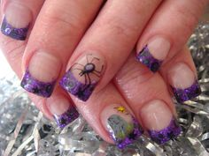 Acrylic Nails | cool effect I learned from Young nails acrylic. I used black acrylic ...