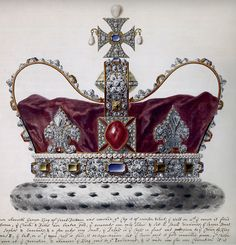 George I's state crown in a watercolor by Giuseppe Grisoni, 1718. The Black Prince's Ruby dominates the front.