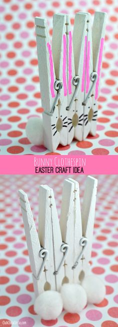 Bunny Clothespins Easy Easter Craft Idea for Kids  www.clubchicacircle.com