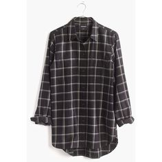 MADEWELL Classic Ex-Boyfriend Shirt in Windowpane Plaid ($80) ❤ liked on Polyvore featuring tops, almost black, boyfriend shirt, madewell, madewell top, button down shirts and boyfriend tank top