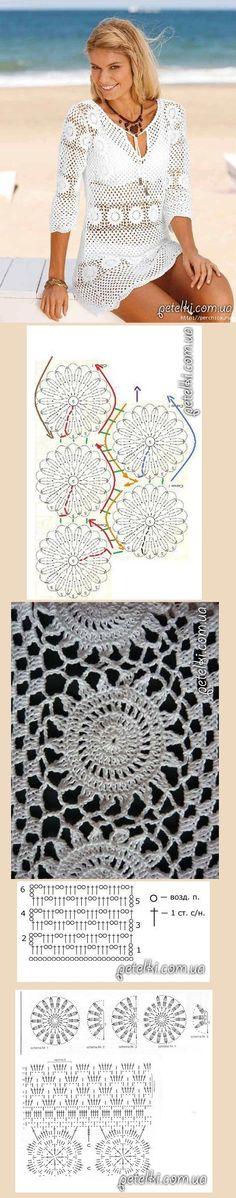 Crochet Poncho With Sleeves, Crochet Tunic, Crochet Motif, Crochet Designs, Crochet Clothes, Crochet Lace, Crochet Stitches, Crochet Bikini, Crochet Patterns