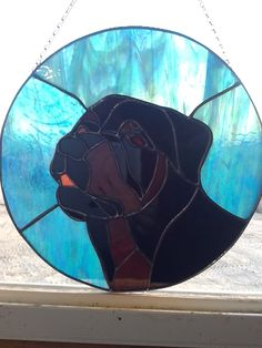 Stained glass dog. Rottweiler