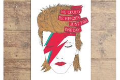 David Bowie card: We can be heroes. We would totally frame this.  | Lost Plots Shop on Etsy