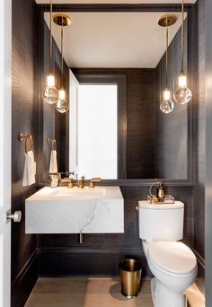 Best Powder Room Ideas & Designs For Your House 2019 The powder room is a half bathroom traditionally just off of the entryway for guests. Take a look at these awesome powder room ides & designs. Bad Inspiration, Bathroom Inspiration, Bathroom Ideas, Bathroom Remodeling, Bathroom Updates, Remodeling Ideas, Vanity Light Fixtures, Powder Room Design, White Rooms