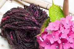 Raspberry chocolate. Beaded yarn. Sun catching hand spun art