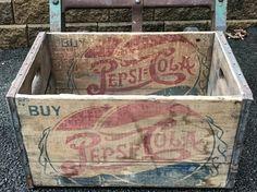 Rare Vintage Bottle Cap Pepsi Cola Wood by ShimSuePickings Vintage Wood Crates, Old Wooden Crates, Red And Blue Logo, Antique Crocks, Butter Molds, Pepsi Cola, Soda Bottles, Gas Station, Minneapolis