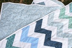 Ocean Chevron Quilt by Julia Marie ♥, via Flickr--I love the colors against the white