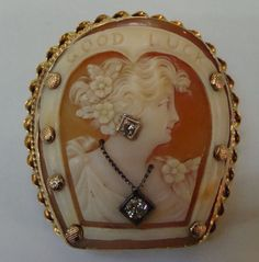 Antique Cameo 14k Gold & Diamond with Woman and Good Luck Horseshoe