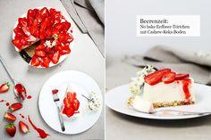 :No bake Erdbeer-Frischkäse-Törtchen mit Cashew-Keks-Boden.