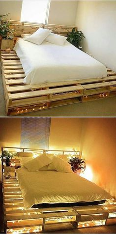 Wooden Pallet Furniture Pallet bed ideas - Pallet coffee table is immensely getting popularity day by day. Wood pallet projects provide the most stunning and innovative pallet coffee table that amaze the coffee lovers. Pallet Bed Frames, Diy Pallet Bed, Wooden Pallet Furniture, Diy Furniture, Bed Pallets, Garden Furniture, Barbie Furniture, Furniture Design, Pallet Bedroom Furniture