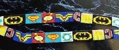 This is a loom beaded DC Comics Superhero Key Lanyard made with Seed Beads. (see picture for length) Dc Comics Superheroes, Beaded Lanyards, Bead Loom Patterns, Loom Bracelets, Loom Beading, See Picture, Beadwork, Seed Beads, Key