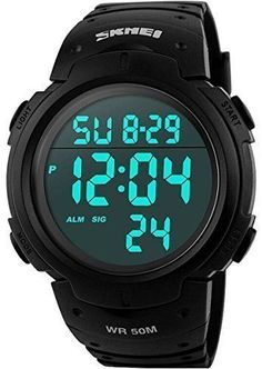 Men's Digital Sports Watch LED Screen Large Face Military Waterproof Army Watch  #CakCity