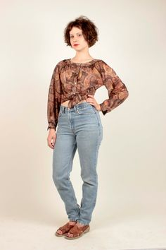 70's/80's Brown and Yellow Paisley Printed Blouse By Jinny Jin/Size Medium/Boho/Hippie by VertigoChicago on Etsy