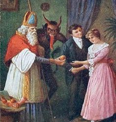 """Krampus followed St. Nick around like a shadow..."" #Krampus #Christmas #folklore #thedevil #stnick #saintnick"