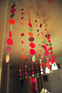 Simply paper cut into circles taped onto string but it has such a big visual impact! Perfect for party decorations or decorating a kid's room. Could even see it as a photo backdrop...