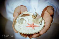 Ring holder beach wedding ideas. Wedding at Grand Bahia Principe Riviera Maya Resort http://www.bahia-principe.com/en/ by ARRECIFE