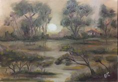Bataklıkta Ayışığı, 35x50, oil&canvas, #gurseltokmakoglu #artist #artworks #art #sanat #paint #tablo #painting #yağlıboya #oiloncanvas #plain #landscape #paintings  #finearts #paintworks #original #oilpaintings #swamp #moonlight #moonlightintheswamp