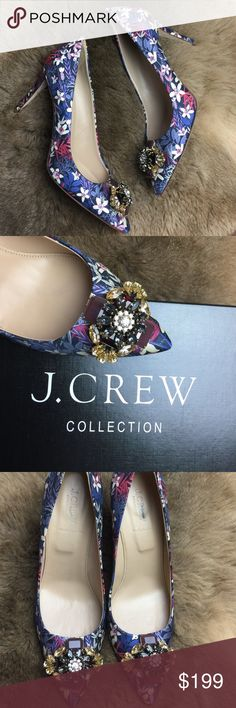 NWT J. Crew collection jeweled pumps J CREW COLLECTION EVERLY JEWELED TOE PUMPS $450 SIZE 10.5  A wardrobe workhorse—and a collector's dream. Custom-designed jewels on the heel = perfection 3.5 inches heel J. Crew Shoes Heels