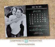 Printable save the dates with personal engagement photo. Completely customizable to your fonts, colors, and styles. Click through for matching invites, RSVPs, direction cards and more.  Or shop our 1000+ designs for all of life's journeys. From weddings to anniversaries, graduations to new babies, if you celebrate it, we can design it! Only at Aesthetic Journeys