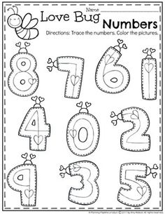 Preschool Valentine Worksheets - Trace the Numbers #valentines #preschoolworksheets