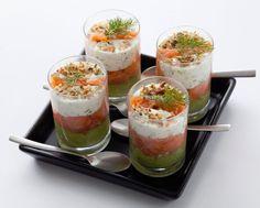 Verrines de saumon fumé à la crème d'avocat : la recette facile