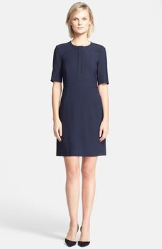 Free shipping and returns on Theory 'Slyra' Quarter Zip A-Line Dress at Nordstrom.com. A hidden front-zip placket allows you to fine-tune the neckline of an otherwise minimally styled dress fashioned from Italian stretch fabric. Elbow-length sleeves allow it to transition from muggy morning commutes to air-conditioned offices.