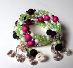 Memory wire bracelet  silver plated  coiled charms  by NezDesigns, $25.00